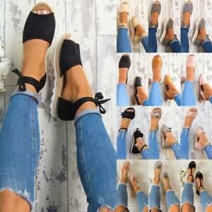 Women's Flats Heel Peeptoe Holiday Summer Espadrilles Ankle Strap Sandals Shoes