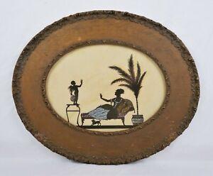 Antique-Art-Nouveau-Silhouette-Art-Cherub-and-Woman-Romantic-Gold-Gesso-Frame