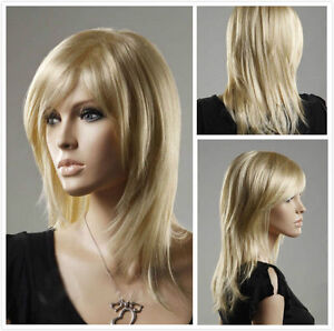 NEW-Fashion-Women-lady-Long-Straight-Blonde-Cosplay-party-lady-039-s-wigs-wig-cap
