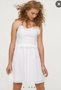 H&M Kleid mit Lochstickerei Spitze Lace Blogger Boho Gr. S ...