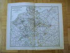 DEUTSCHLAND EISENBAHN SCHIFFE kolorierter KUPFERSTICH 1877 LANDKARTE Stich