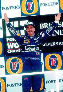 Nigel MANSELL SIGNED 12x8 Podium Photo British Grand Prix Autograph AFTAL COA
