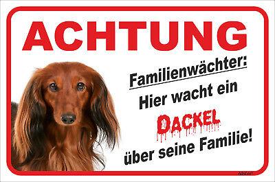 Initiative Dackel Langhaar Rot Schild Vorsicht 15x20-40x60cm Familienwächter