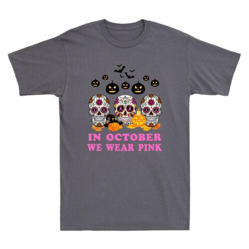 In October We Wear Breast Cancer Awareness Pink Sugar Skull Cotton T-Shirt