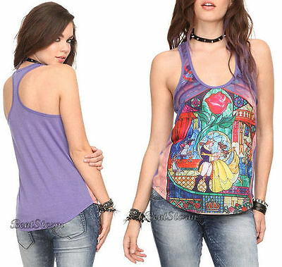 NEW Disney Beauty & Beast Belle Stained Glass Racerback Tank Top Shirt Hot Topic