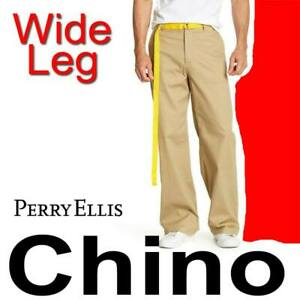 PERRY-ELLIS-WIDE-LEG-CHINO-PANTS-KHAKI-CASUAL-WORK-TROUSERS-33x30-MSRP-199