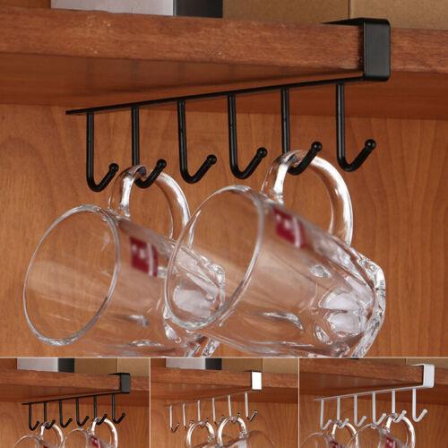 6-Hook Tasse Support Accrochage Cuisine Armoire sous Étagère Rangement Haut