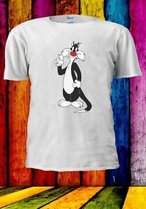 Sylvester-IL-GATTO-simpatico-dolce-TWEETY-Cartoon-Uomini-Donne-Unisex-T-shirt-3643