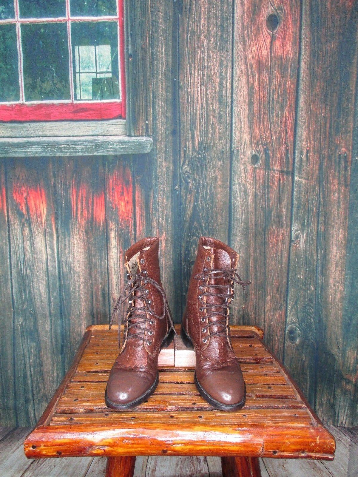 Damas De Cuero Cuero Cuero Marrón botas Con Cordones Justin Roper talla 7 B ( 20437 af)  Las ventas en línea ahorran un 70%.