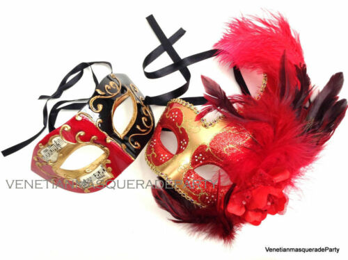 Venetian Musical and Ostrich feather Side flower fancy eye mask Couple Dance Fun
