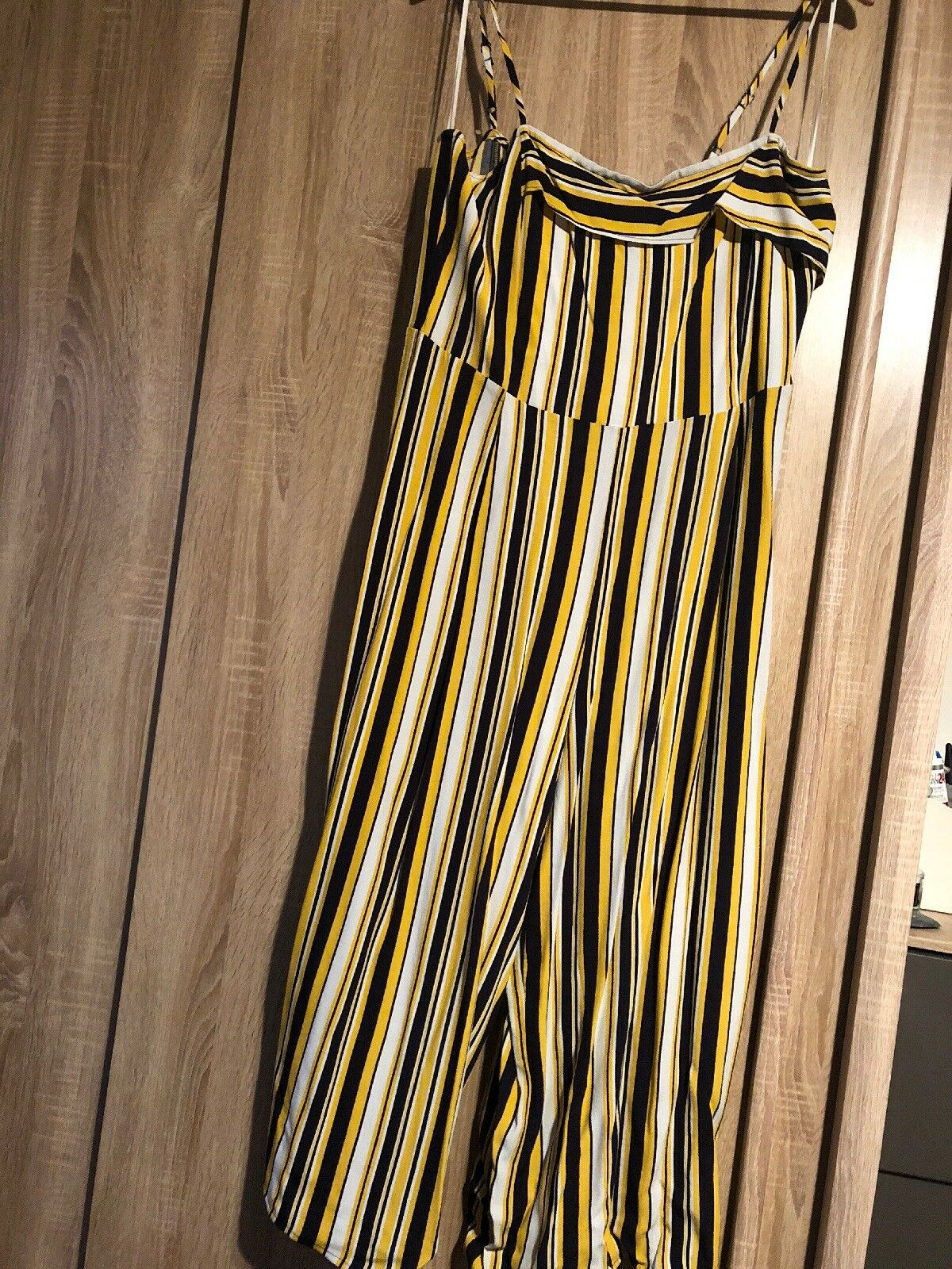 Brand New Warehouse Strip Flare Jump Suit Size 14