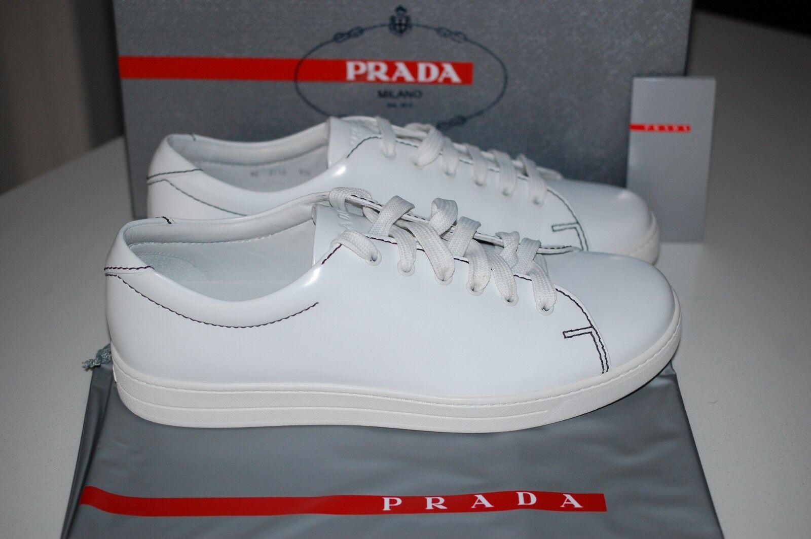 PRADA bianca Tonal Leather Low-Top Men's Designer scarpe da ginnastica scarpe 10.5 US   9.5 UK