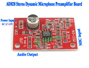 ad828 stereo dynamic microphone preamplifier module mic preamp dc 3 7v 15v 12v ebay. Black Bedroom Furniture Sets. Home Design Ideas