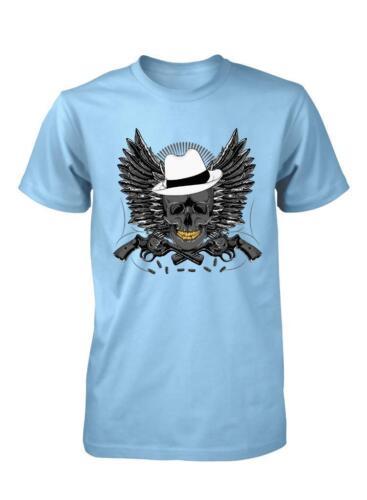 BNWT Gangster Mafia Crâne avec des ailes et canons Childs Enfants T Shirt 3-15 Ans