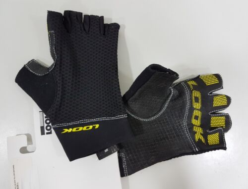 Look Road Race 2 Half Finger Gloves Black+Yellow Fluo Yellow Red //White S-XL