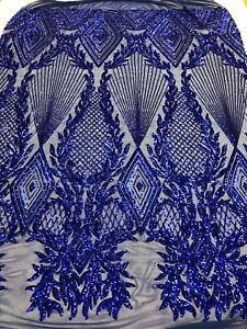 By Yard// 4 Way Stretch Sequins Fabric//Embroidered Mesh Lace Geometric//Royal Blue