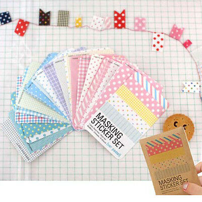27pcs Pastel Paper Masking Sticker Tape Scrapbooking Diary Deco Label Tag Set