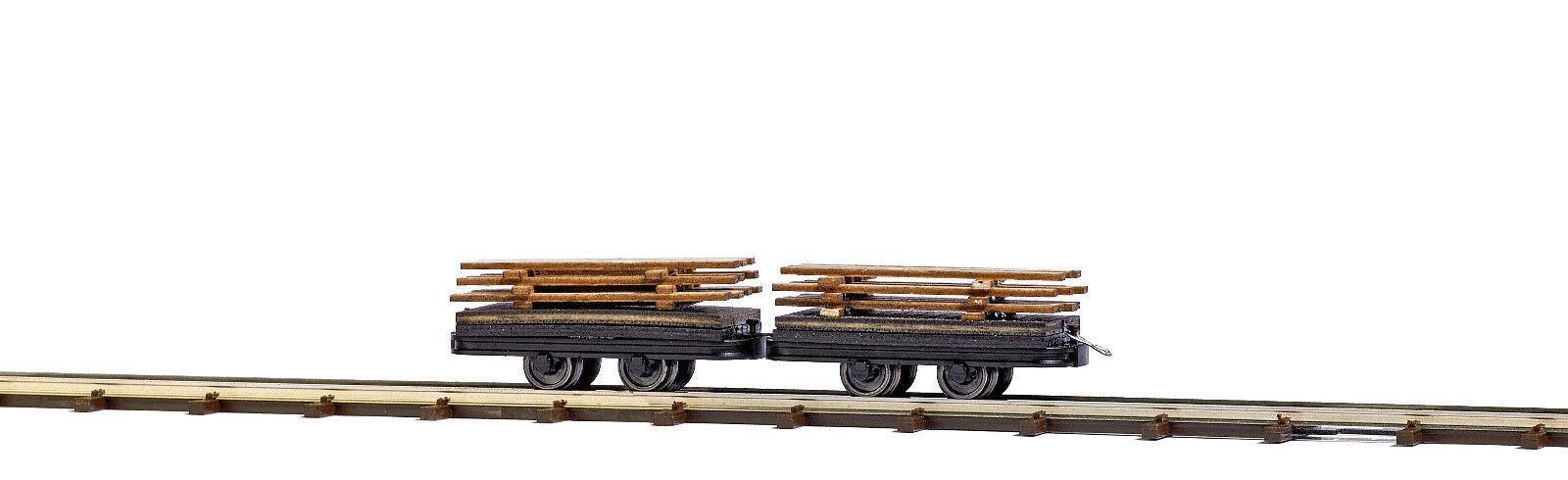 Busch 12218 Dos Vagón con Bretterladung Hof Nuevo