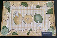 Kohls Croft Barrow Placemats Tapestry Citrus Lemon Lime Fruit Yellow Green 4