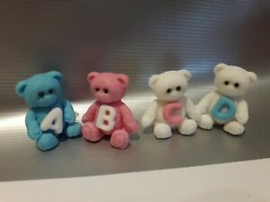 Edible Sugar Icing Teddybear Boy/Girl Letters Cup Cake ...