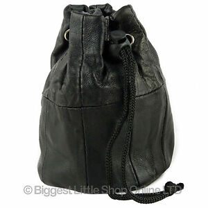 Lined-Black-Soft-Leather-Drawstring-Wrist-Pouch-Coin-Purse-Change-Handy