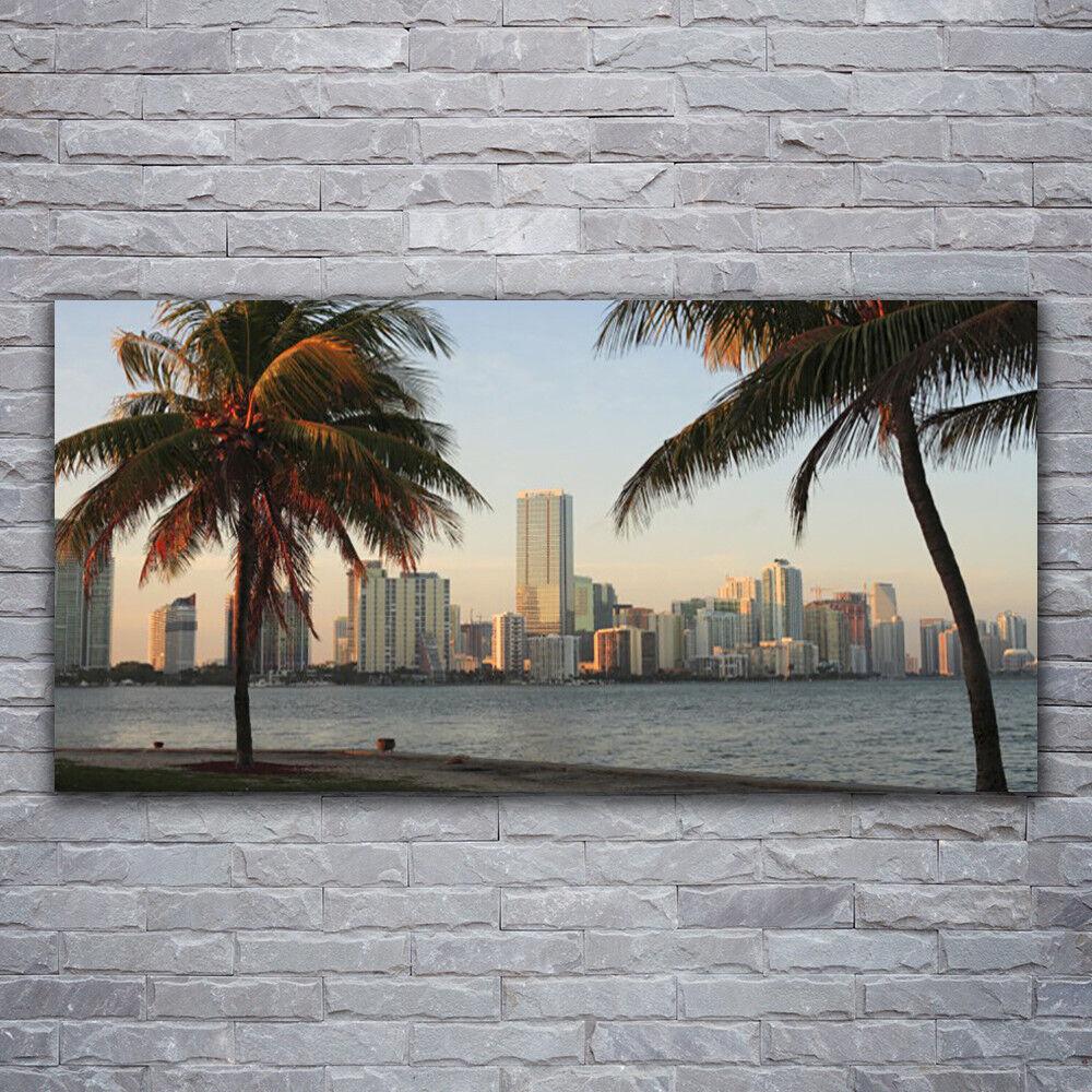 Verre Imprimer Wall Art Image 120x60 Photo ville Palmiers maisons