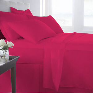 Cushy Bedding Collection Pink Solid 1000TC Egyptian Cotton All US Size