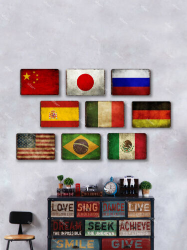 "TIN SIGN Mexican Flag 8/""x12/"" Metal Plaque Wall Decor Art Store Shop Bar Home"