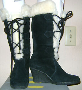 Boho-Steve-Madden-Black-Suede-lace-Up-Fur-Lined-Wedge-Boots-Size-6-Pre-owned