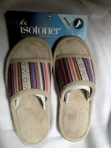 Womens Isotoner Slippers  House Shoes Size 8.5-9  Tribal Pattern Heel Cushion