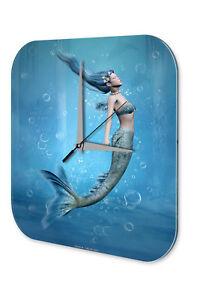 Wanduhr-Fantasie-Bild-Motiv-Meerjungfrau-Deko-Acryl-Uhr-Vintage
