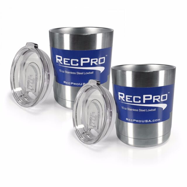 x2 RecPro 10oz Lowball Vacuum Insulated 18/8 Stainless Steel Cup w/ Slider Lid