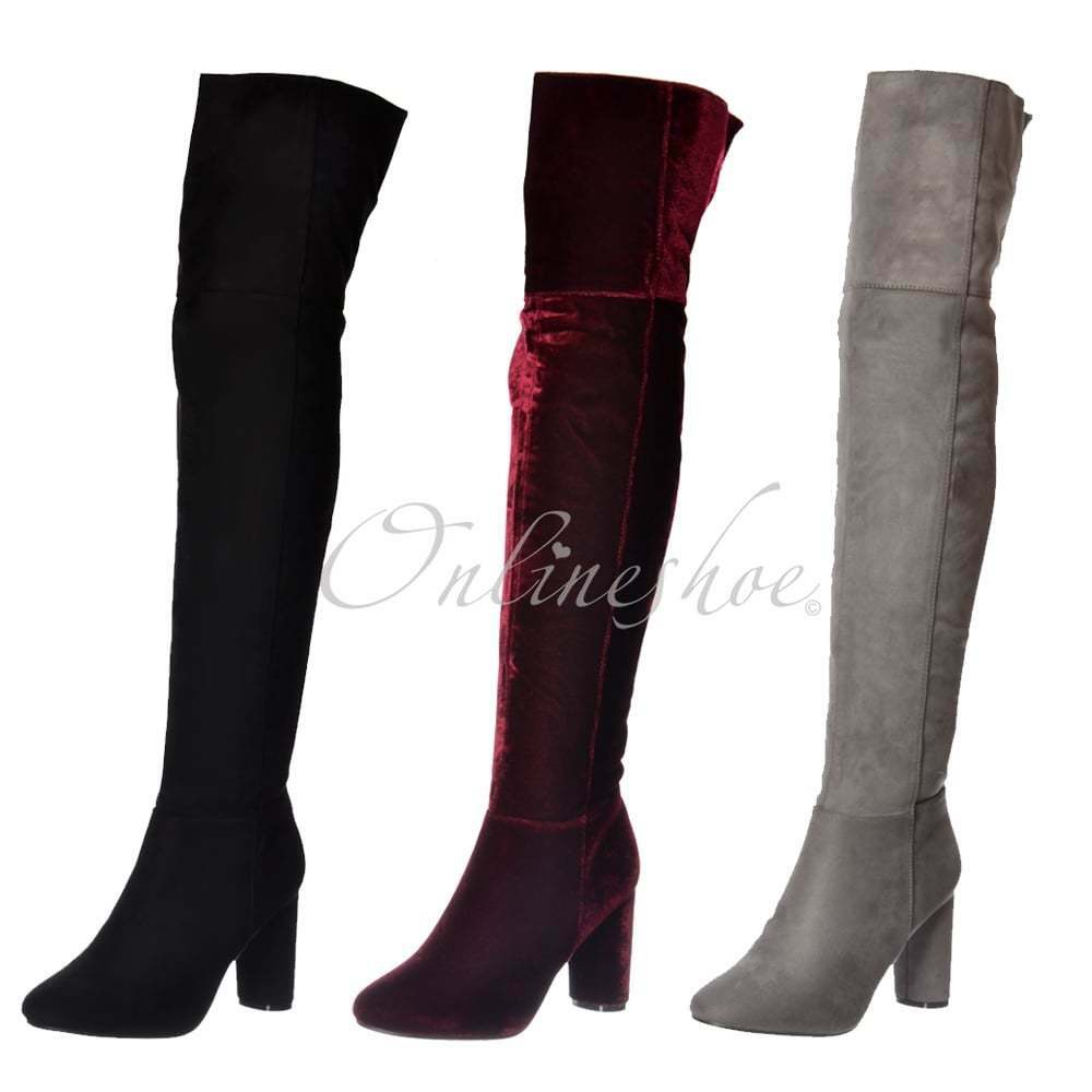 Womens Over The Knee Sexy Party Thigh High Heeled Boot Stretch Black Grey Wine