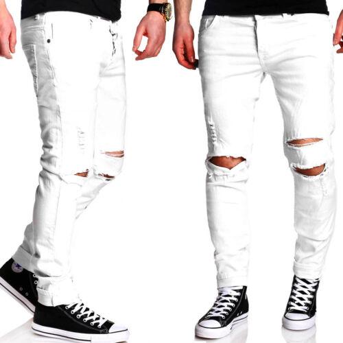 Uomo destroyed crepe SLIM FIT Jeans Pantaloni Chino Pants Bianco//Nero//Beige//Cachi