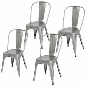 Details about 4 Piece Heavy Duty Stacking Metal Industrial Kitchen Bar  Dining Room Chairs Set