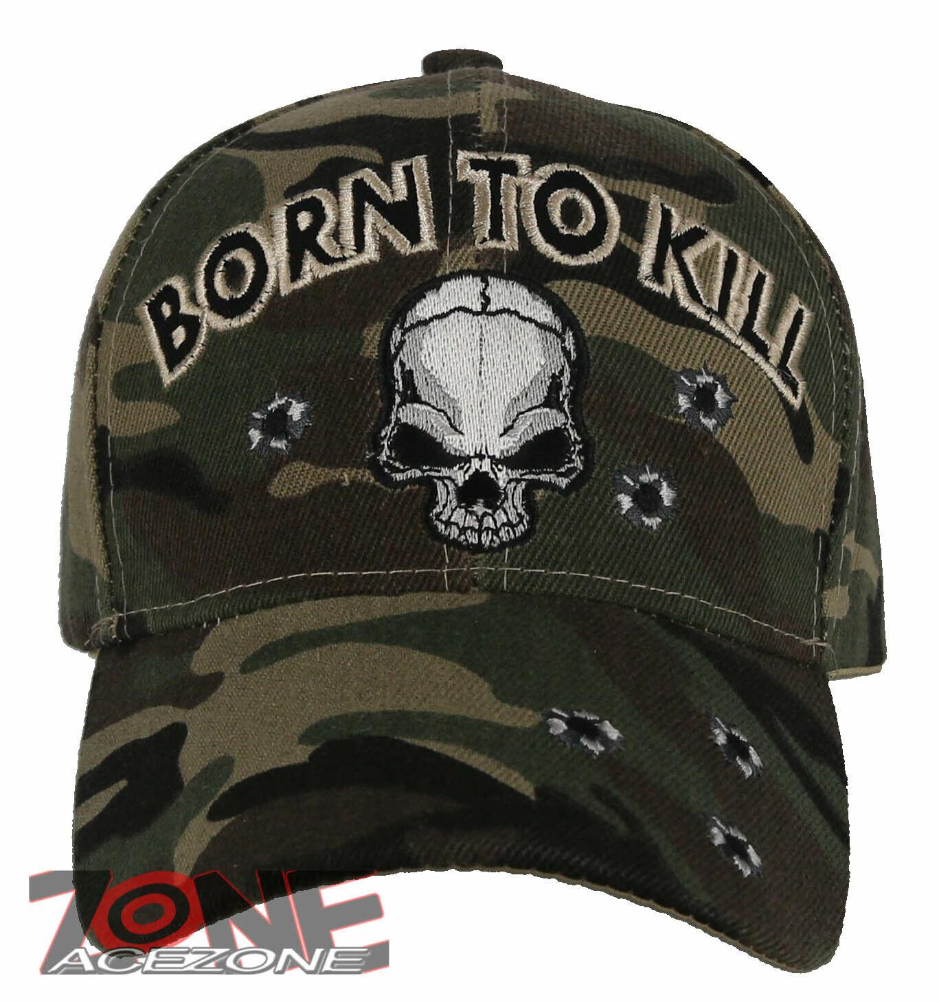 ! nuevo! nacido Para KILL Calavera Gorra Sombrero Camuflaje Verde