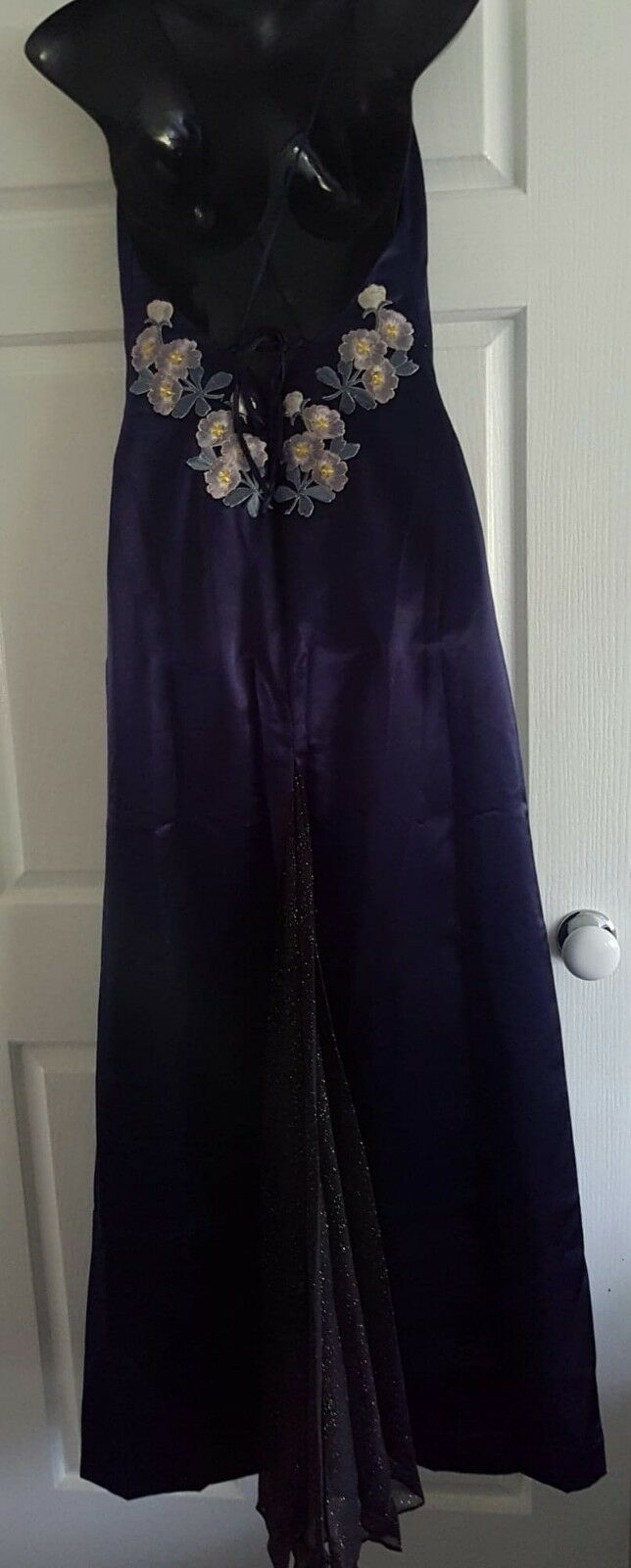 Navy bluee satin women's formal dress with embroidered flowers, Tailor Made, Size