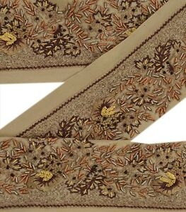 Lace, Crochet & Doilies Sewing Vintage Sari Border Antique Hand Embroidered Indian Trim Sewing Cream Lace