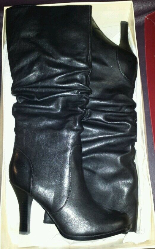 New SOFFT BELFAST noir LEATHER HIGH HEEL SLOUCH bottes Taille 7.5