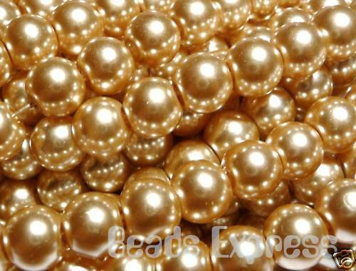 50pc 8mm Quality Glass Pearl Round Beads Sand Gold CR8019