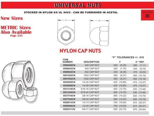 Lot of 5 Nylon Locking Hex Cap Nut 10-32