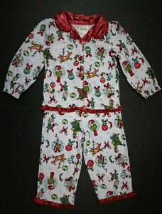 Dr Suess Grinch Christmas Pajamas Girls Toddler 2t 3t 4t