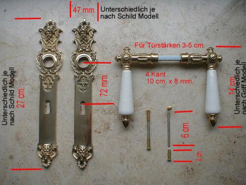Messing Poliert BB 72 Langschild Antik Türgriffe Türbeschlag Gründerzeit S110-1P