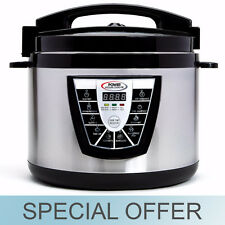 10 Qt. - Electric Power Pressure Cooker XL 1400W w/ Slow Cook Stainless Steel