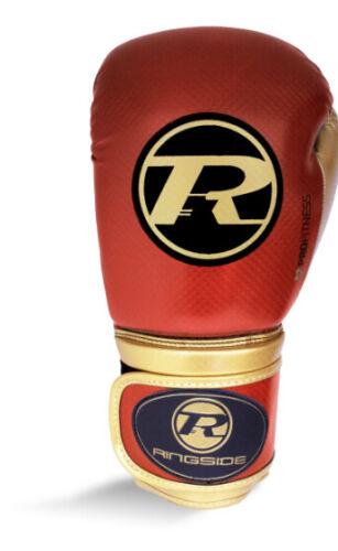 12oz Ringside Boxing Guanti Metallica Rosso e Dorato Muay Thai non MONDIALI