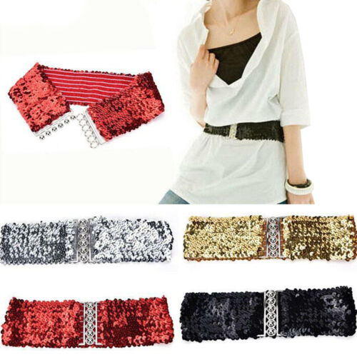 Womens Girls Bling Sequins Shining Stretchy Wide Waist Belt Waistband For Dress