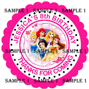 70 X 37MM  PERSONALISED DISNEY PRINCESS BIRTHDAY  STICKERS SWEET  BAGS GIFTS ETC
