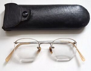Vintage-1920s-Hadley-Rimless-Eyeglasses-Spectacles-Steampunk-Original-Case