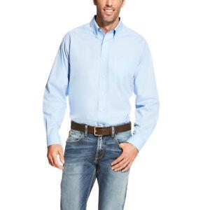 10020329 arrugas azul botón con Ariat® hombre de Camisa manga larga sin para claro qTB8XHxw