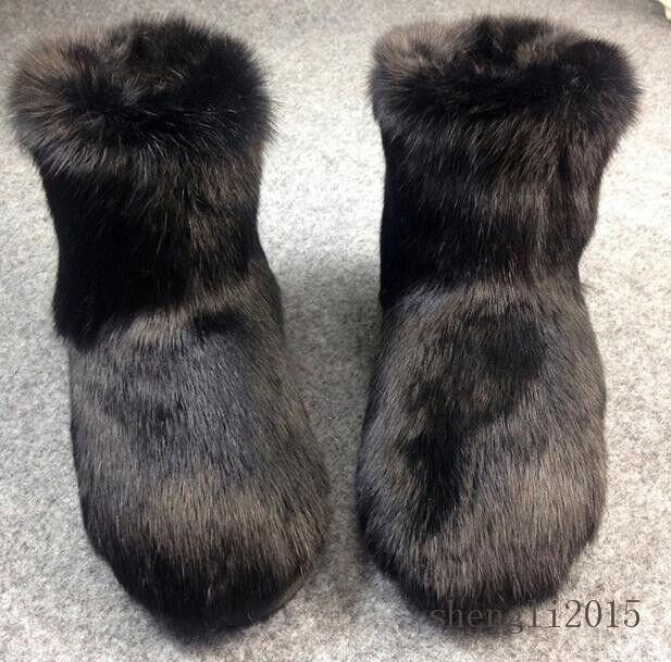 Women Real Genuine Rabbit Fur Furry Warm Glossy Fur Snow Boots Flats Round Toe